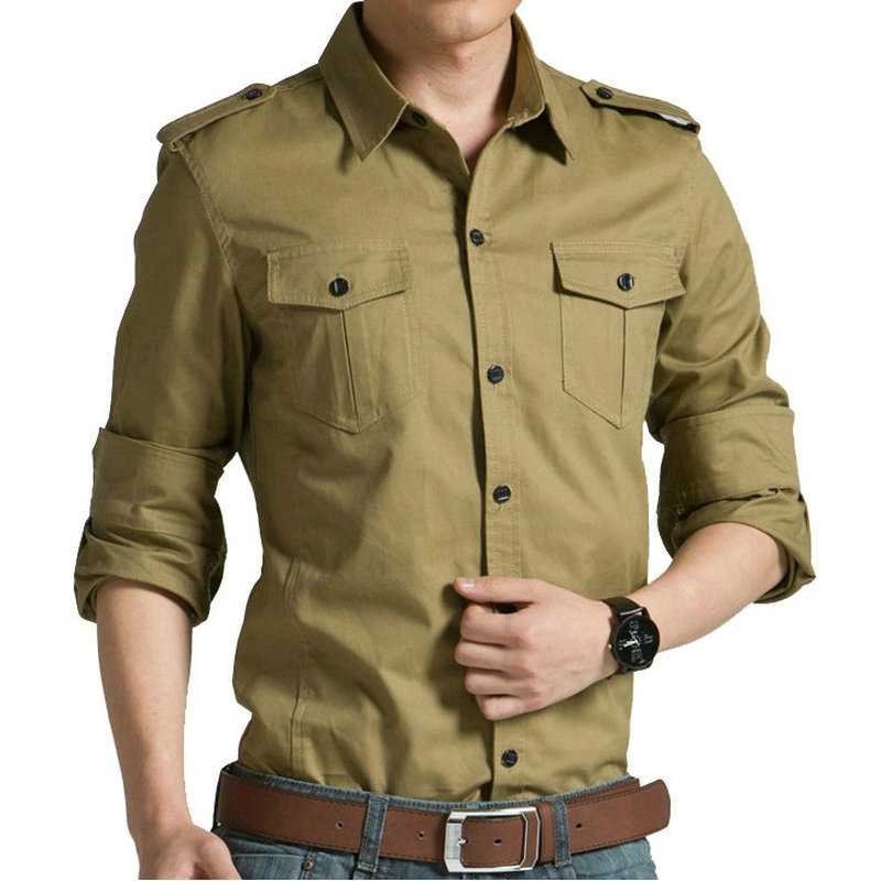 New Hot 100% Cotton Military Shirt Men Long Sleeve Casual Dress Shirt Male Cargo Work Shirts Brand Men Clothing Soft Comfortable