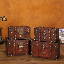 Handmade Vintage Treasure Chest Manual Wood Pirate Jewelry Necklace Sundries Storage Boxes Hotel Restaurant Home Dustproof
