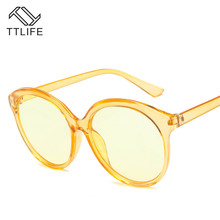 TTLIFE 2019  blue round Sunglasses Women Brand Designer Fashion Pink Yellow Sun Glasses Retro Shades rave festival