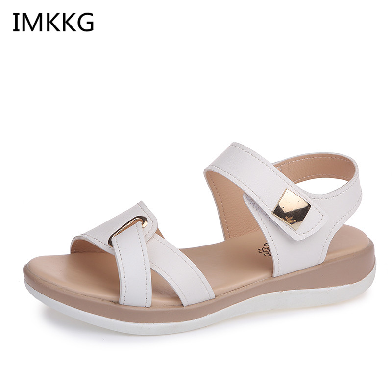Summer Women Sandals platform heel Leather hook loop metal Soft comfortable Wedge shoes ladies casual sandals Innrech Market.com