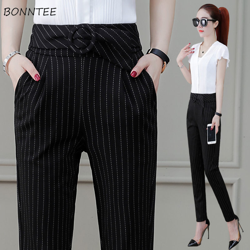 Casual Pants Women Simple Black Striped Elegant Office Lady Trouser High Waist Oversize Summer New Fashion Business Femme Capris