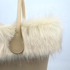 Image 4 - huntfun New Women Bag Faux Fox Fur Beige Plush Trim for O BAG Thermal Plush Decoration Fit for Classic Big Mini Obag