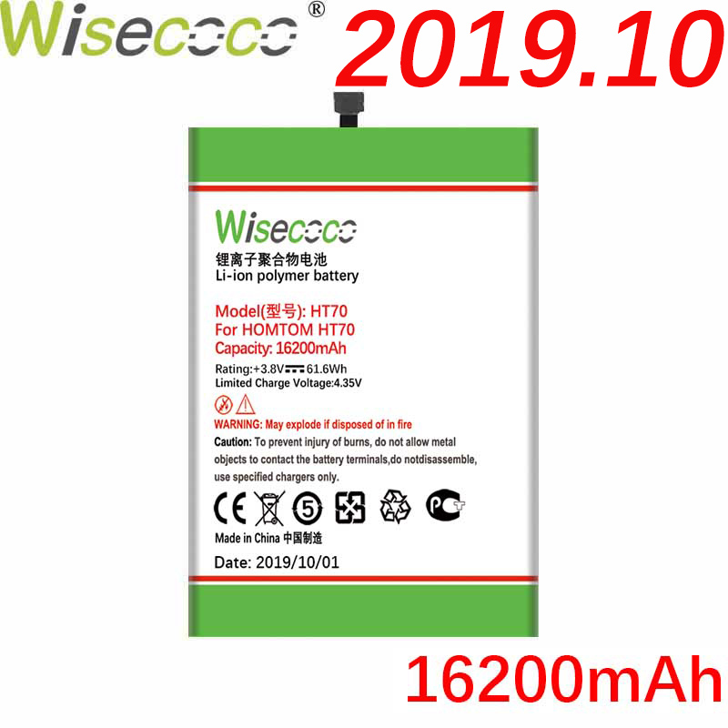 WISECOCO 16200mAh HT70 Battery For <font><b>HOMTOM</b></font> HT70 HT <font><b>70</b></font> Mobile Phone Latest Production High Quality Battery+Tracking Number image