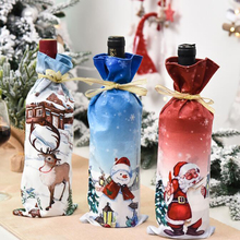 Nowy rok 2021 święty mikołaj ełk Snowman butelka wina osłona przeciwpyłowa Navidad 2020 ozdoby świąteczne do domu dekoracja stołu obiadowego tanie tanio CN (pochodzenie) Tkaniny 898597 non-woven