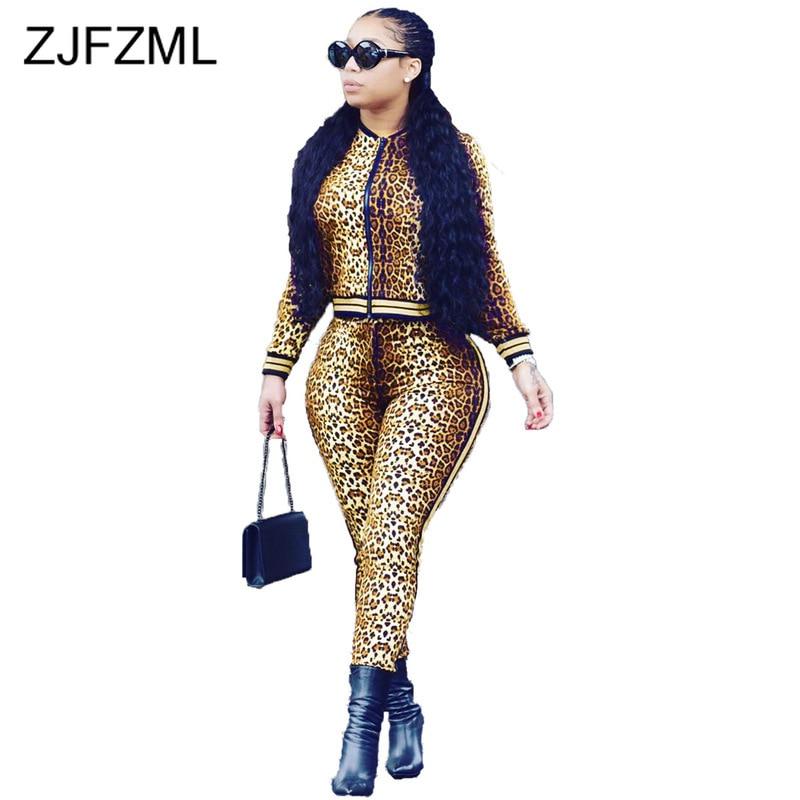 Autumn Winter Leopard Plus Size Two Piece Sets Women Outfits Long Sleeve Zipper Front Bomber Jacket + Long Pants Sweat Suits