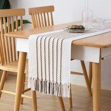 Chemin de Table avec pompon en coton, drapeau de Table de Style Simple, décoration de meuble Tv, Restaurant 34x180 cm