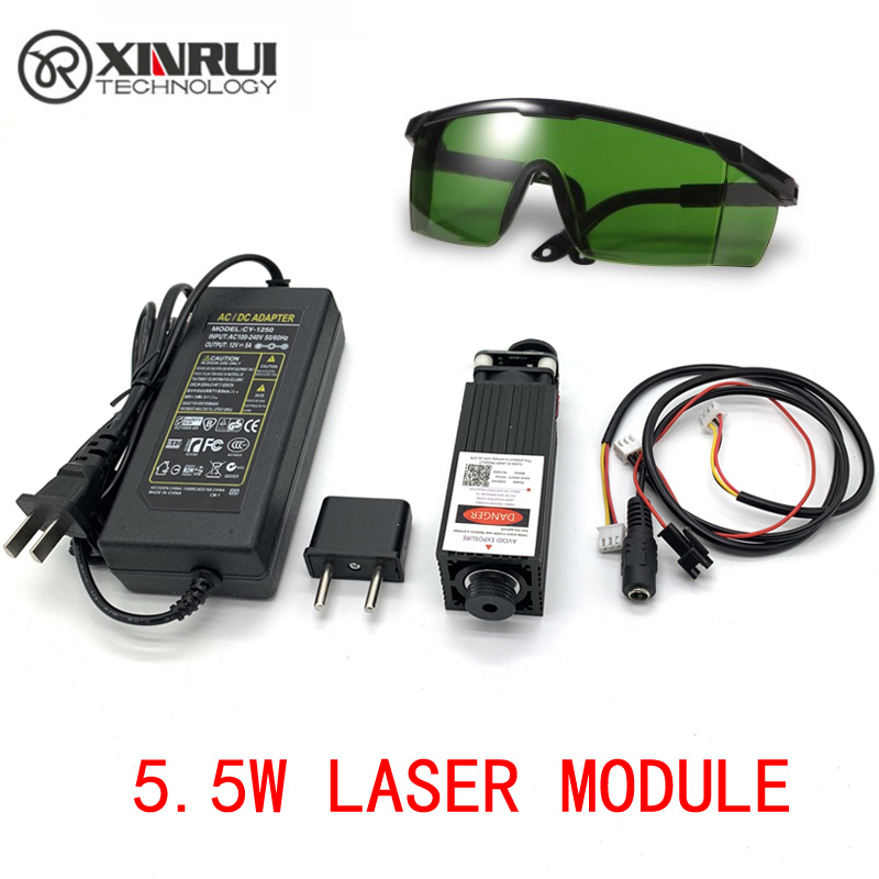 Free Shipping 445nm 5500mW 12V High Power TTL Adjustable Focus Blue Laser Module DIY Laser Engraver Accessories 5.5W Laser Head