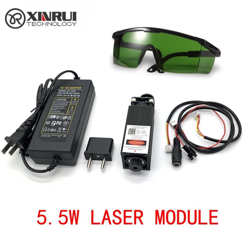 Free Shipping 445nm 5500mW 12V High Power TTL Adjustable Focus Blue Laser Module DIY Laser Engraver Accessories 5.5W Laser Head