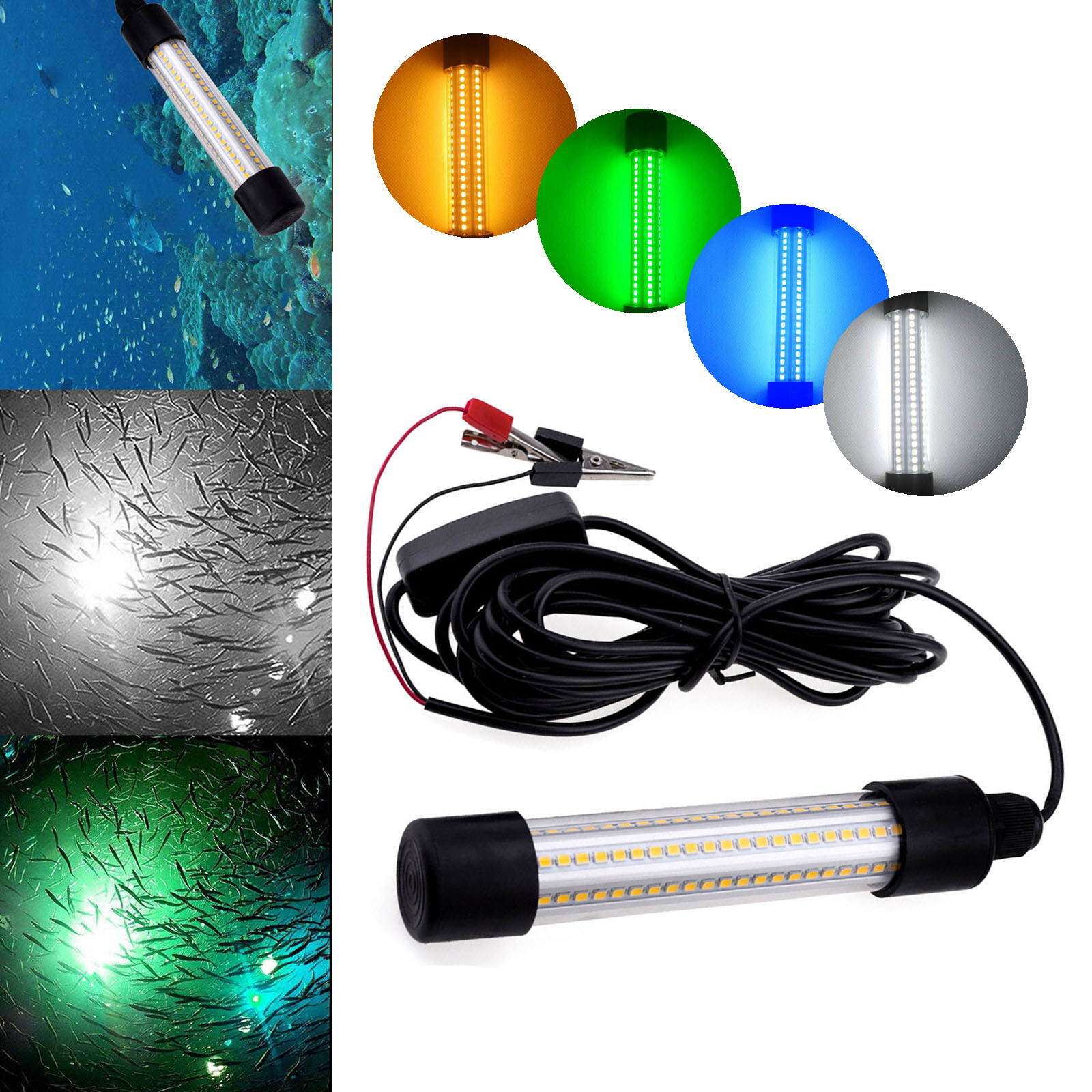 LED Underwater Light Lamp 12V 1200LM Waterproof For Submersible Night Fishing Boat Outdoor Lighting White Warm Green Blue Lights