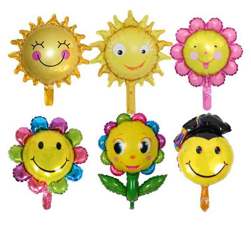 New 1pcs mini Colored sun flower baby cake aluminum balloons birthday party balloons wholesale children's toys