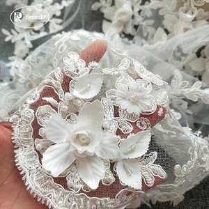 Image 2 - 9Color Gold Purple Black White Red Wedding Dress Lace Fabric 3D Chiffon Flowers Nail Bead Lace Fabric Free Shipping RS35