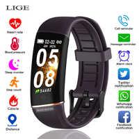LIGE 2019 nueva pulsera de fitness a la moda monitor de presión arterial de ritmo cardíaco saludable smartband reloj inteligente resistente al agua banda de ajuste