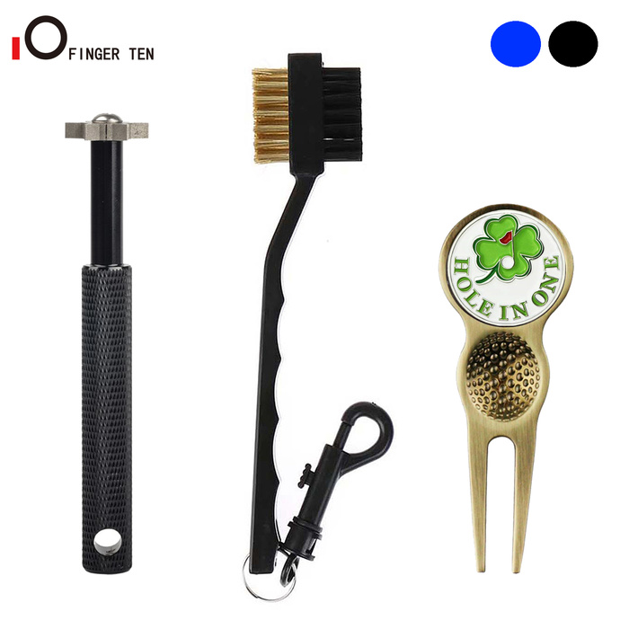 3 Pcs/Set Deluxe Cleansing Kit Golf Club Cleaner  6 Heads Sharpener Brush Divot Tool Regrooving for All Clubs Iron Sets
