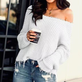Spring Autumn Solid Color Rough Selvedge Sweater Round Neck Off Shoulder Sweater Women Long Sleeve Casual Streetwear Tops D30 цена 2017