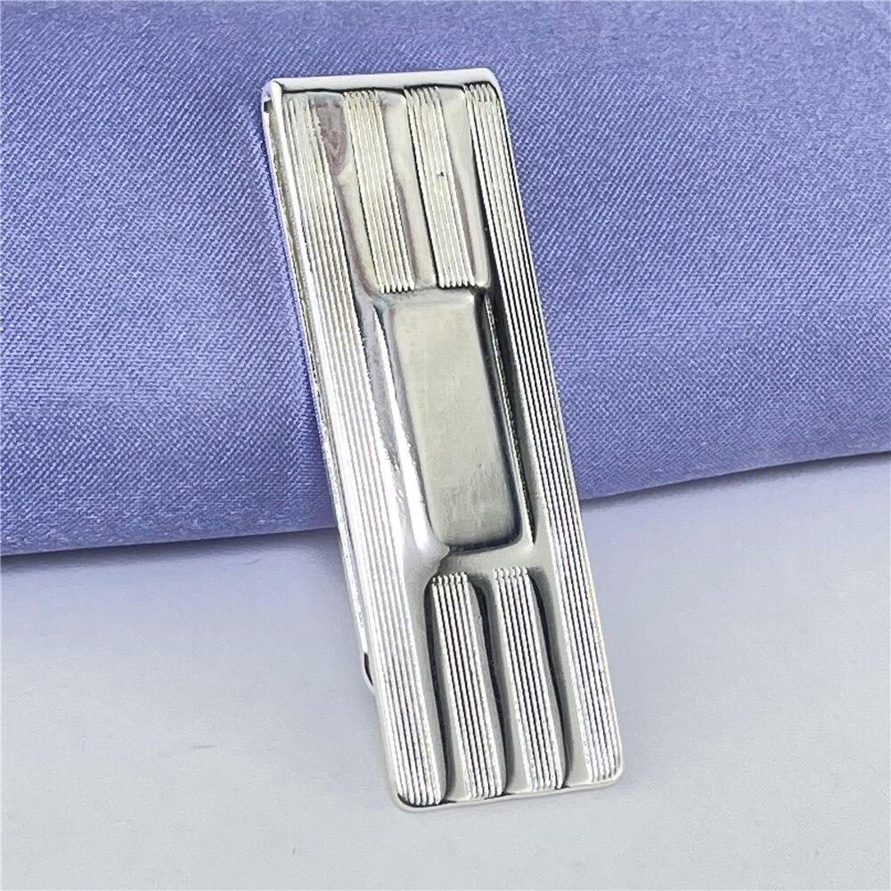 925 Silver Money Clip Striped Money Clip Fashion Jewelry Gift-4