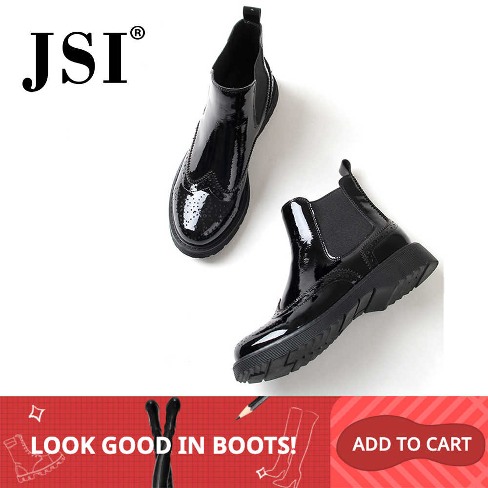 JSI New Stylish Round Toe Low Heel Ladies Boots Basic Patchwork Outside Shoes Casual Elastic Band Square Heel Women Boots JO238
