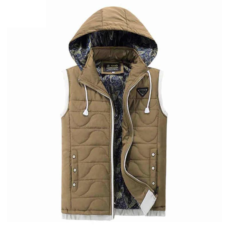 2020 Nieuwe Katoenen Winter Vesten Voor Mannen Xxxl Rode Jas Mens Thicken Casual Hooded Bovenkleding Mannelijke Bodywarmer Sleevless Jas