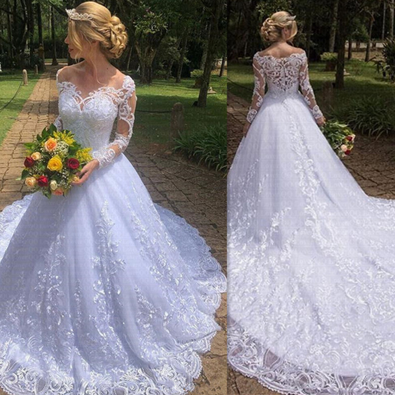 Vestido De Noiva Good Quality Lace Long Sleeves Wedding Dress 2020 With Real Picture Robe De Mariee