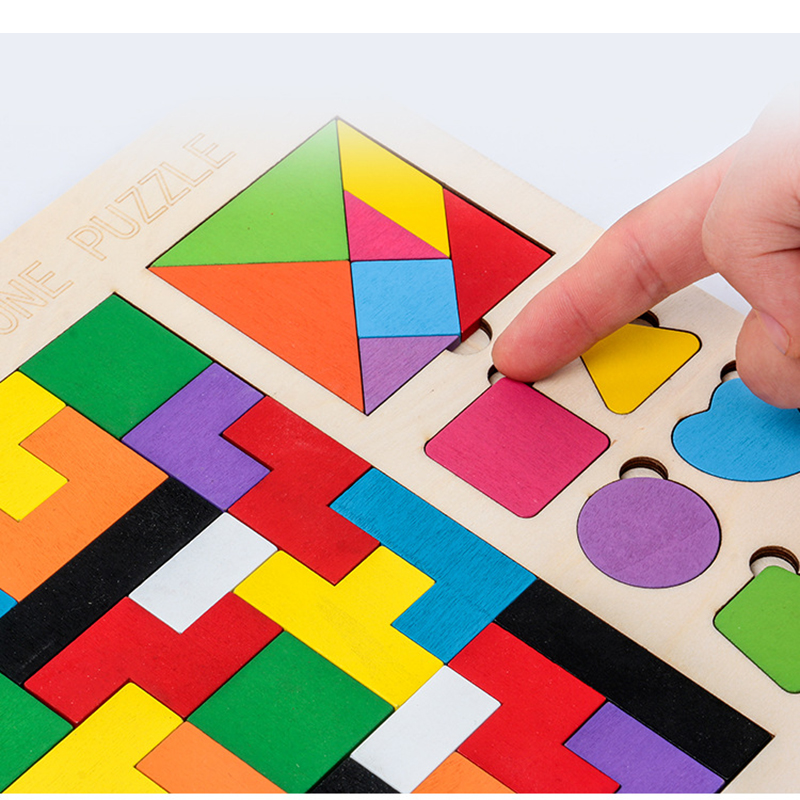 3 in 1 3D Puzzle Wooden Tangram Children Pre-school Magination Intellectual Educational Math Toys Game Puzzle Bloacks for kids 5