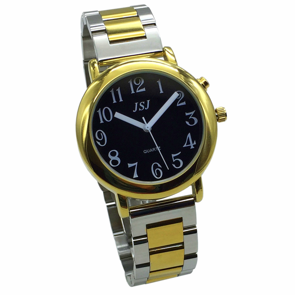 French Talking Watch With Alarm Function, Talking Date And Time, Black Dial, Folding Clasp, Golden Case TAF-605