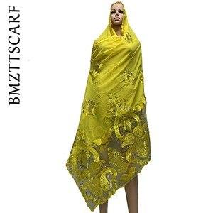 Image 5 - Yüksek kaliteli afrika kadınlar eşarp yumuşak şifon eşarp Splice Net ağır şifon eşarp s dua eşarp BM772