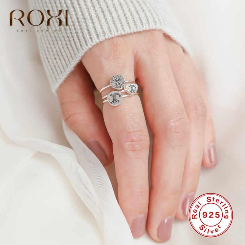 ROXI Vintage טביעת אצבע טבעות לנשים מינימליסטי תכשיטי חתונה מותאמת אישית טבעות אמיתי 925 כסף סטרלינג טבעות מבטיחים מתנות