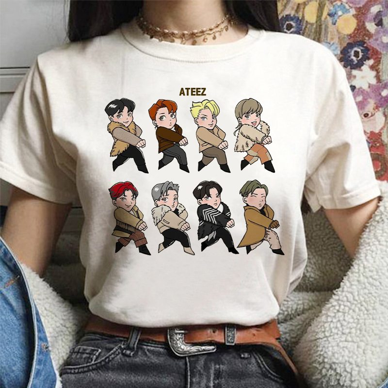 ATEEZ Male Group New Kpop Group Harajuku Vintage Korean Style T Shirt Aesthetic Clothes Summer Women Short Sleeve Gothic Top