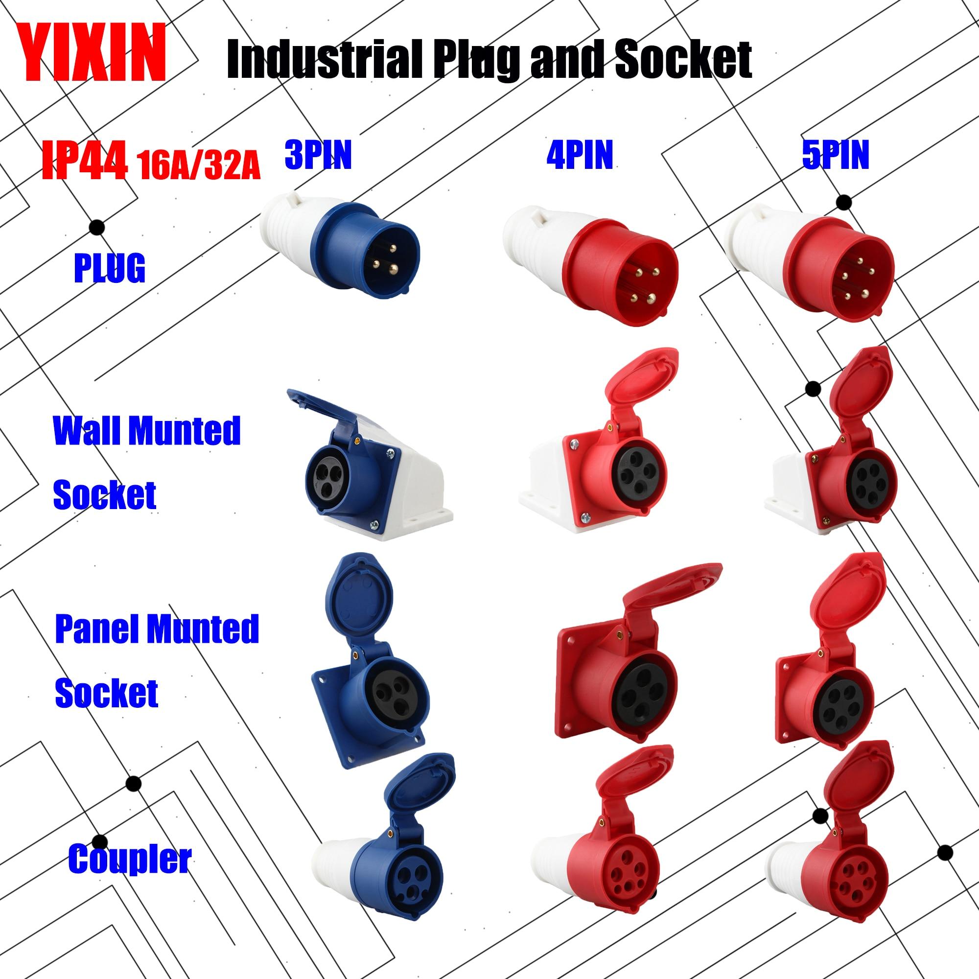 Tomada industrial e soquete 16a 32a 3 pinos 4 pinos 5 pinos ip44 parede montado painel do soquete acoplador montado 220 v 380 v 415 v