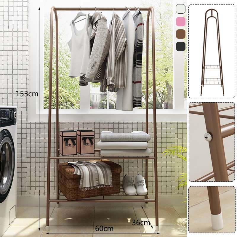 Multifunctional Coat Rack Floor Standing Clothes Hanging Storage Shelf Clothes Hanger Racks Simple Metal Iron Bedroom Furniture
