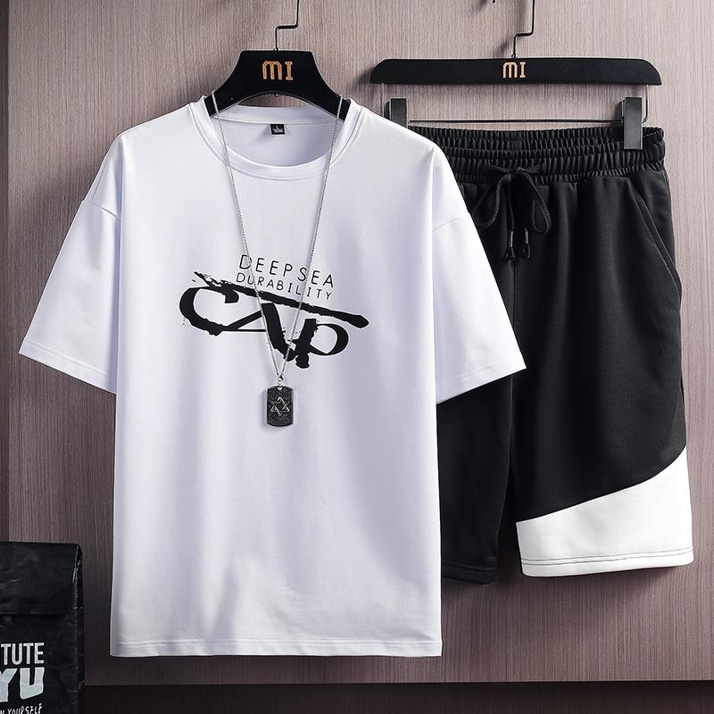 Conjunto de verano informal para Hombre, conjuntos de dos piezas, camisetas + Pantalones cortos, Ropa de calle, chándales de manga corta, Ropa estampada