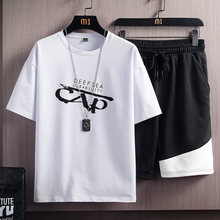 Conjunto de verão dos homens casuais novos conjuntos de duas peças tshirts + shorts dos homens streetwear manga curta treino impressão ropa de marca hombre