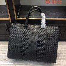 New pattern Mens business bag handbag Shoulder bag Business affairs Luxury Design Computer package Genuine leather Cowhide