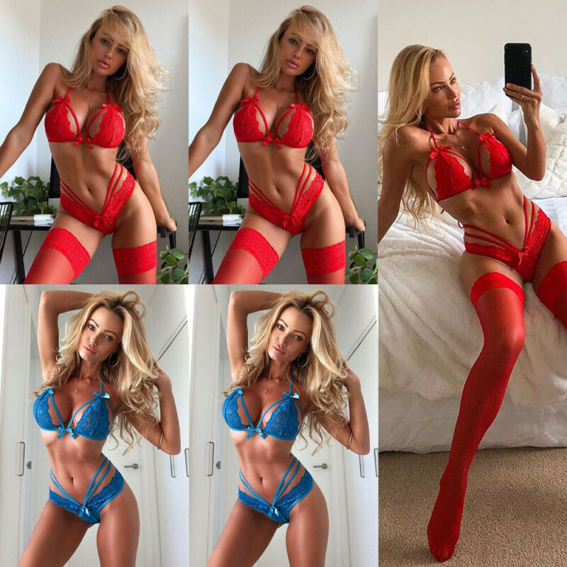 2Pcs Sexy Lingerie Set Women Lace Babydoll Sexy Underwear Lace Bra+G-string Sex Panties Lingerie Sexy Hot Erotic Sleepwear Red