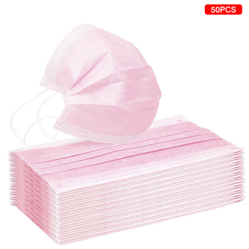 10/20/50pcs Pink Color Non-woven Face Mask  Breathable Mask with Elastic Earband