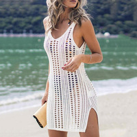 Sexy Hollow Out Beach Dress Women V Neck Sleeveless Crochet Swimsuit Cover Up Vestidos Female Bathing Suit 1
