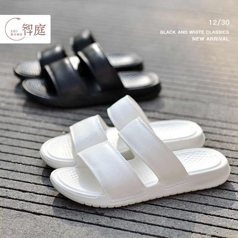Woman Slippers Double Bands Shoes Women Mules Pvc Summer Female Sleepers White Sport Slippers Slip Flats Ladies Open Toe Slide
