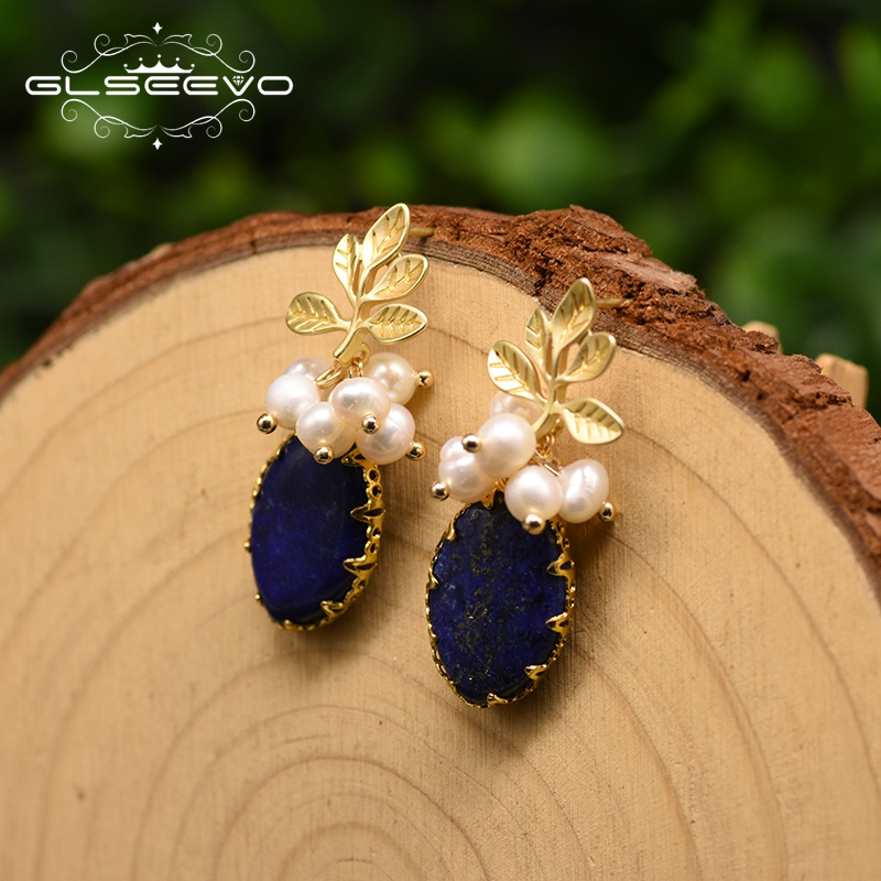 GLSEEVO Original Design Egg Shape Geometry Lapis Lazuli Drop Earrings For Women Leaf Dangle Earrings Fine Jewelry Brincos GE0897