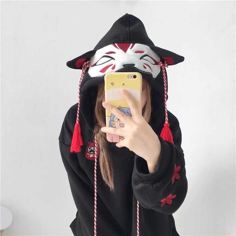 Японская Милая уличная мода, женские толстовки Harajuku Kawaii Fox Ear с капюшоном, свитшот с вышивкой Сакура, бархатный пуловер, топы