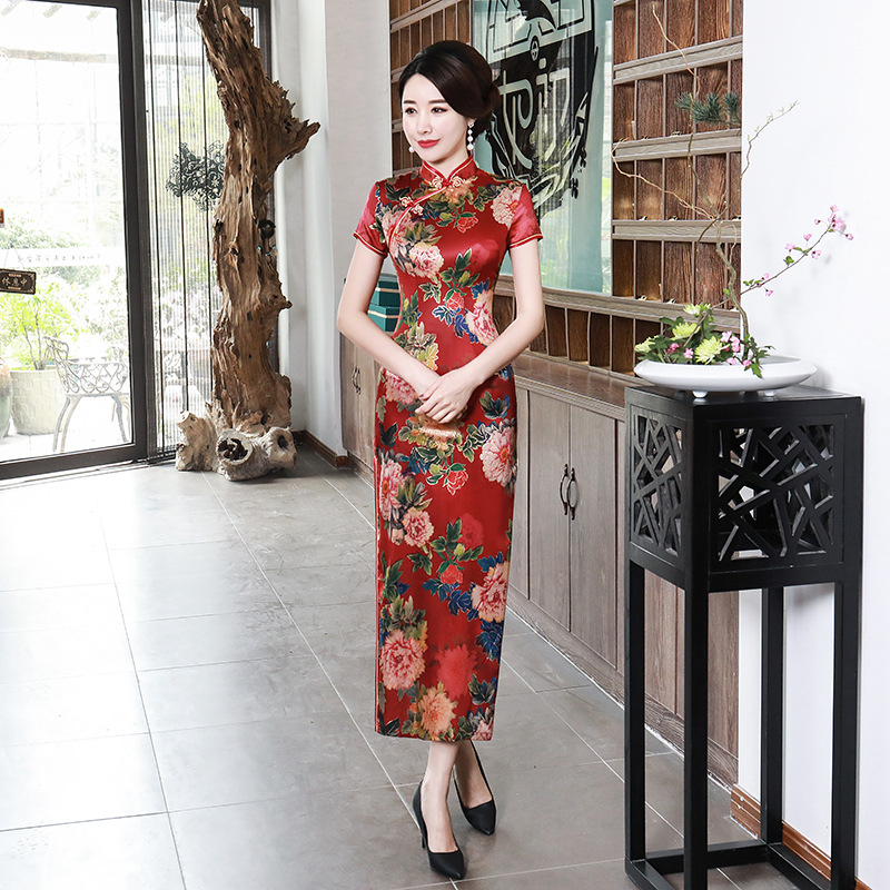 Chinese-style Spring And Summer Improved Cheongsam Long Dress Large Size Mom WOMEN'S Dress Banquet Costume Slim Fit Wholesale