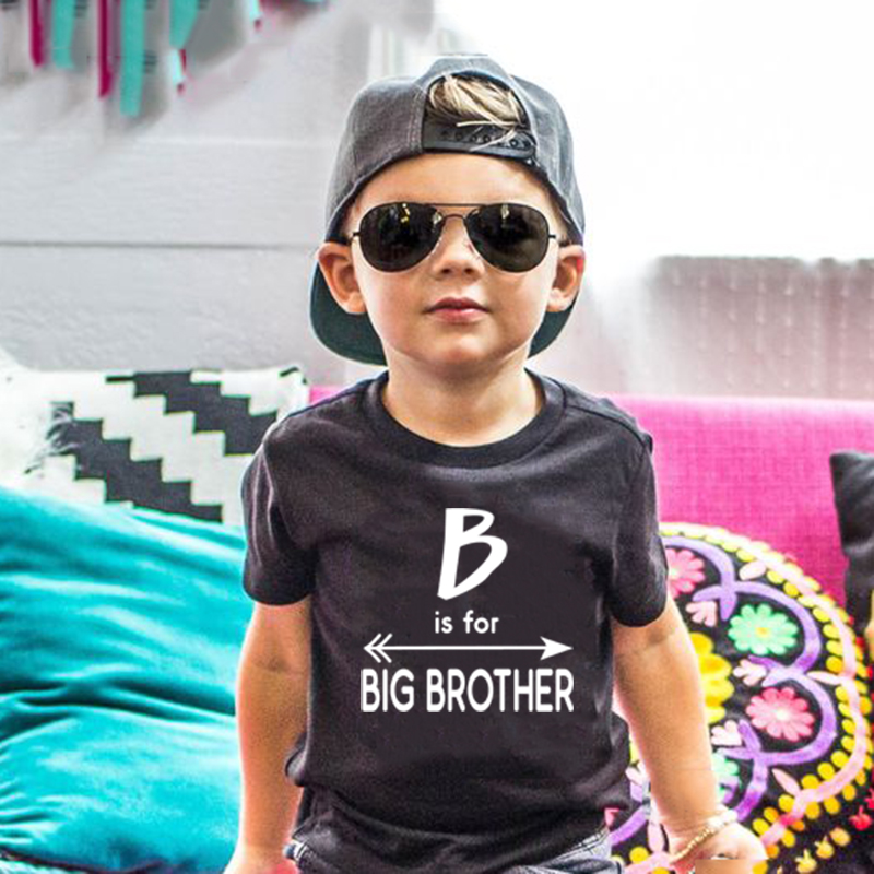 B Is For Big Brother Print Funny Kids Tshirt Toddler Boys Fashion Announcement To Be Big Brothers Tees Children Casual T-shirt