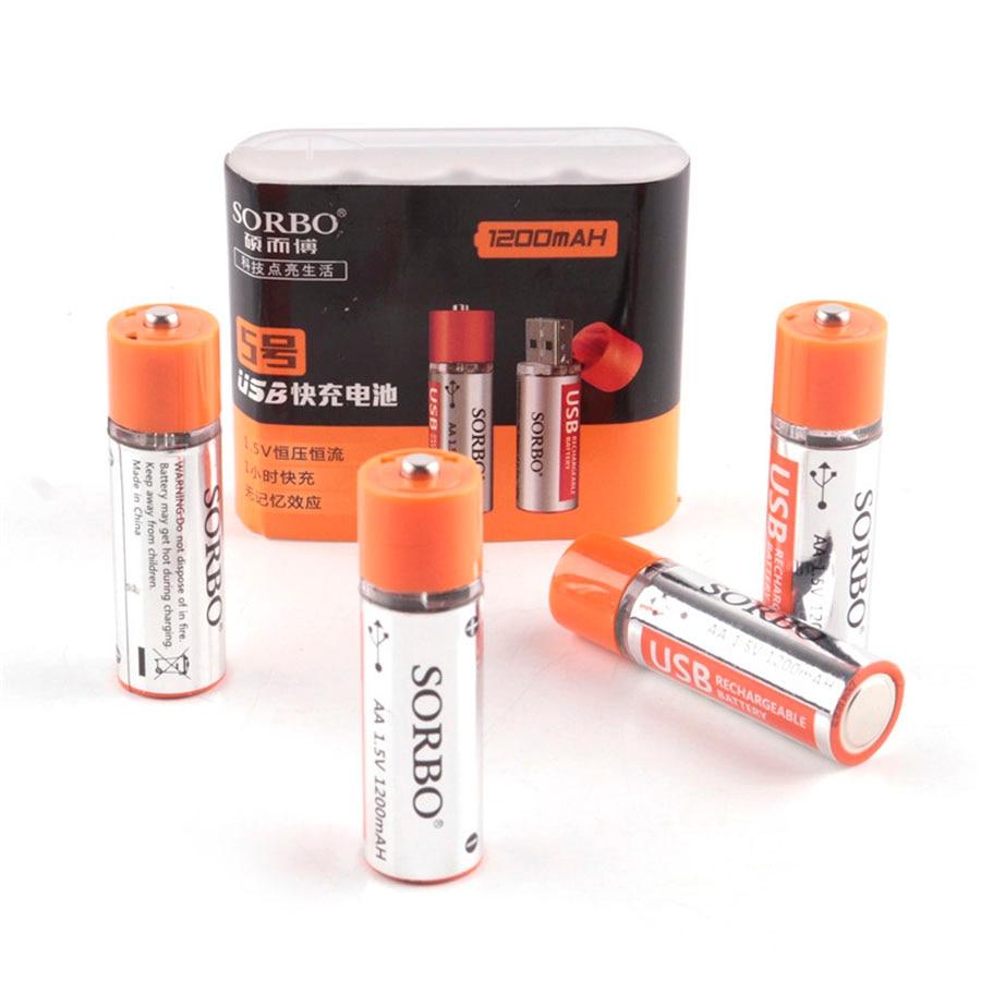 Bateria recarregável original aa 1.5 v 1200 mah de sorbo 4 pces usb carregamento rápido li-po bateria qualidade aa baterias bateria rohs ce