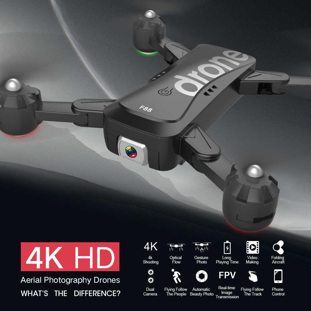 Walmeck F88 RC Drone con c/ámara Dual Imagen 4K Seguir APLICACI/ÓN de posicionamiento de Flujo /óptico Control de Gestos Drone Quadcopter Plegable para Adultos con 3 bater/ías