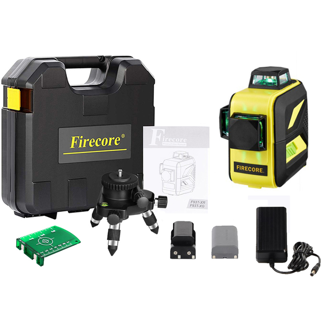 Firecore 3D 12lines green laser level 360 auto outdoor laser with fine tuning tripod/magnet bracket plastic box packaging