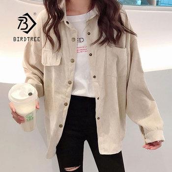 Veste en velours côtelé pour femmes, chemise unie, simple boutonnage col rabattu, manches longues, bouton de poche, T90801J, 2019 1
