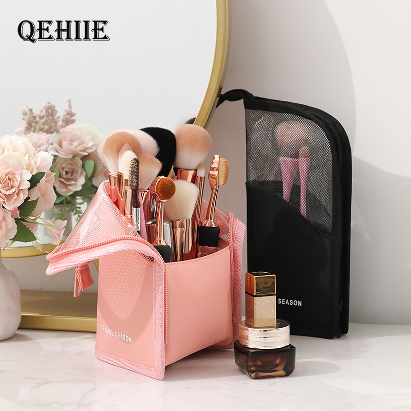 Makeup Bag Pouch Cosmetic Stand-up Brush Holder Travel Organizer Half Transparent Portable Fashion Waterproof Multifunction