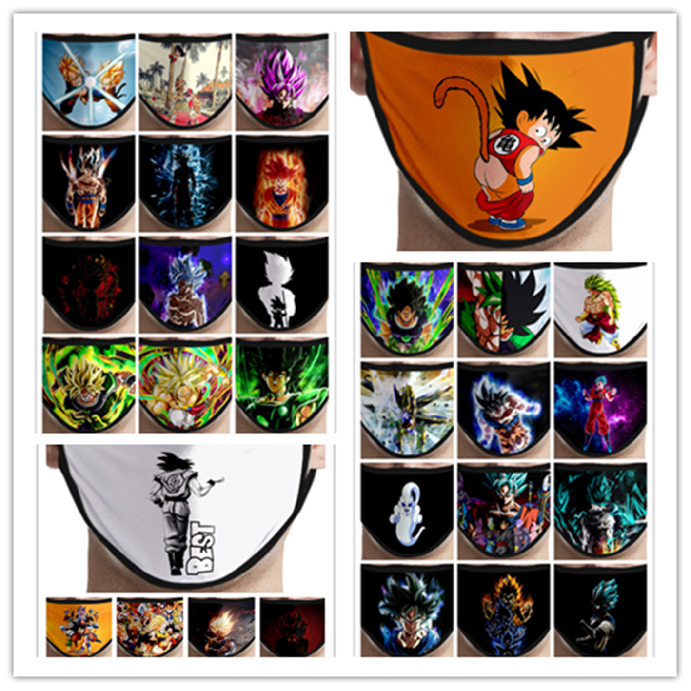 Anime Dragon Ball Peripheral Printing Mask Cosplay Item Accessories Dustproof Anti-fog Fashion Printed Wash New