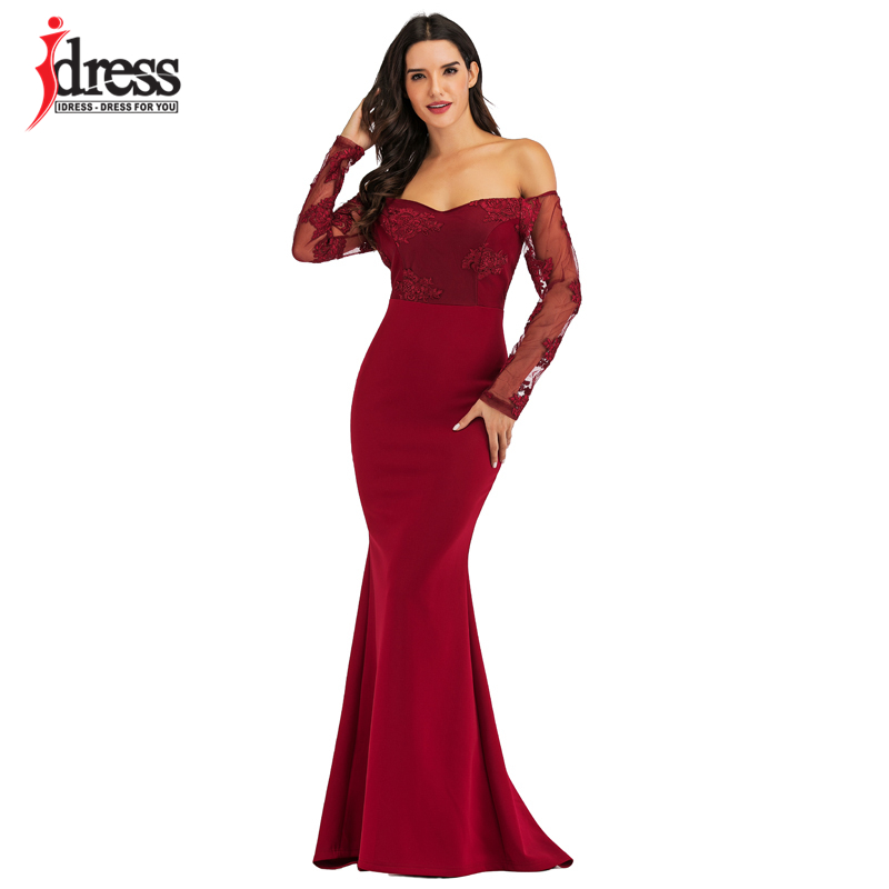 IDress Sexy Slash Neck Off Shoulder Designer Runway Dress Formal Prom Long Dress Women Lace Embroidery Evening Party Dress Long (15)