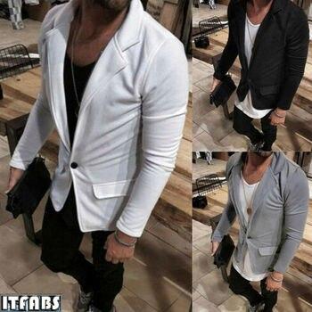 Men's Casual Slim Fit One Button Suit Blazer Coat Jacket Tops Men Fashion Autumn Winter Single Button Blazers Plus Size M-3XL