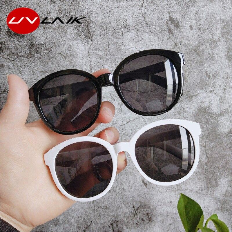 UVLAIK Round Sunglasses Women Brand Designer Vintage Big Frame Oversized Sun Glasses Ladies Shades Eyewear