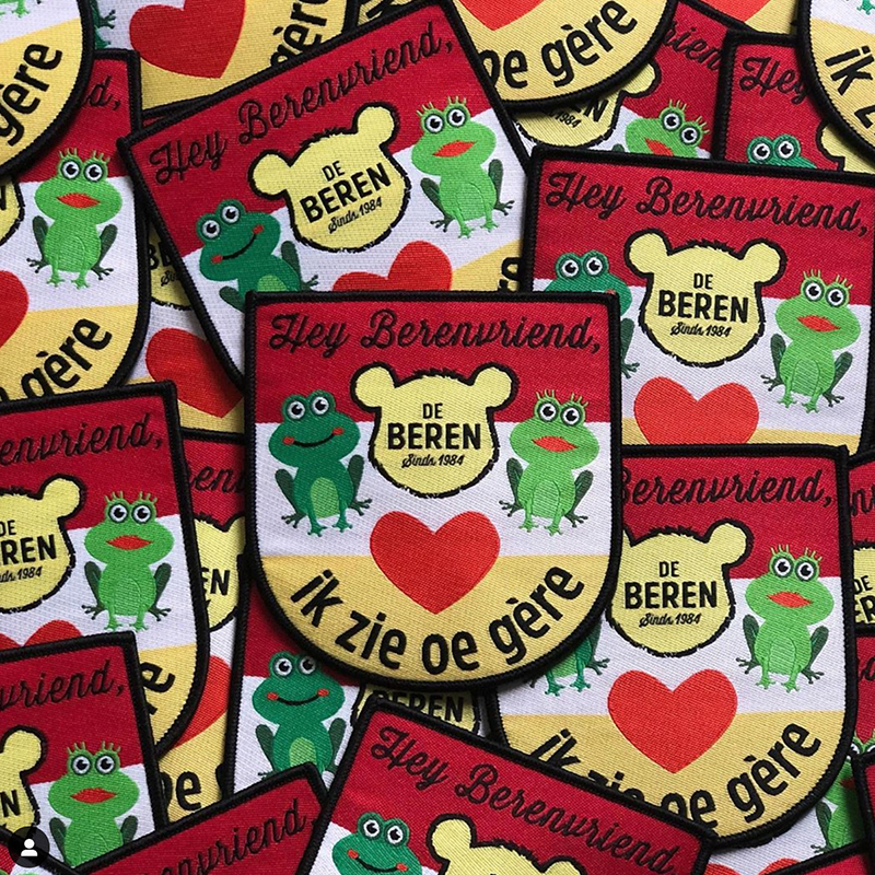 Iron on Patches Oeteldonk Emblem Full Embroidered Frog Carnival for Netherland Patches for Clothing Stripes Stickers DIY Badges